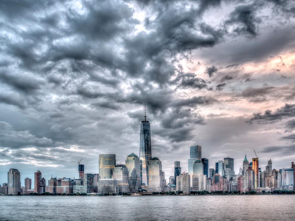 Skyline of New York City Manhattan on July 4th 2015